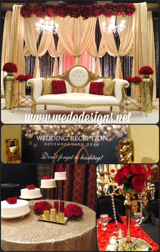 Hollywood Glam Wedding Red Gold And Black Gold Sequin Table