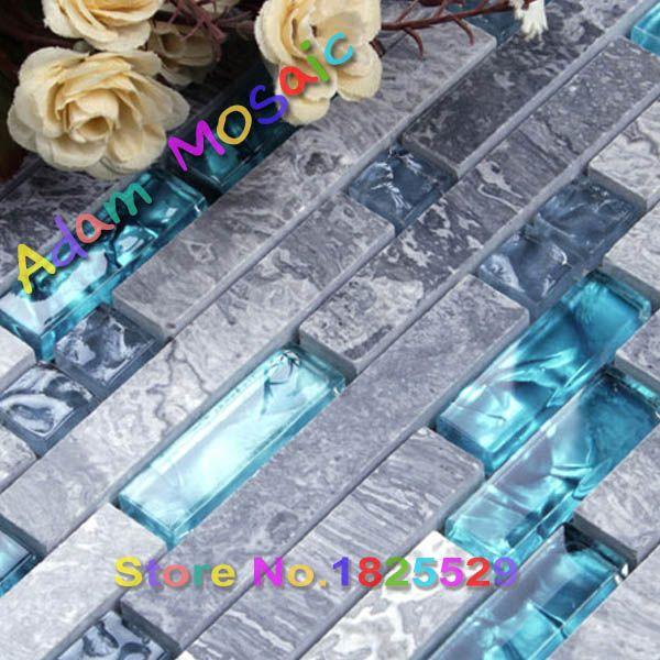 Azul vidrio backsplash de la cocina azulejo de mármol mosaico de ...