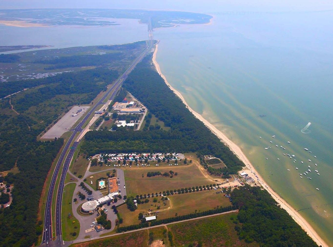 Foreground Is Sunset Beach Resort And The Entrance To Chesapeake Bay Bridge Tunnel In Background