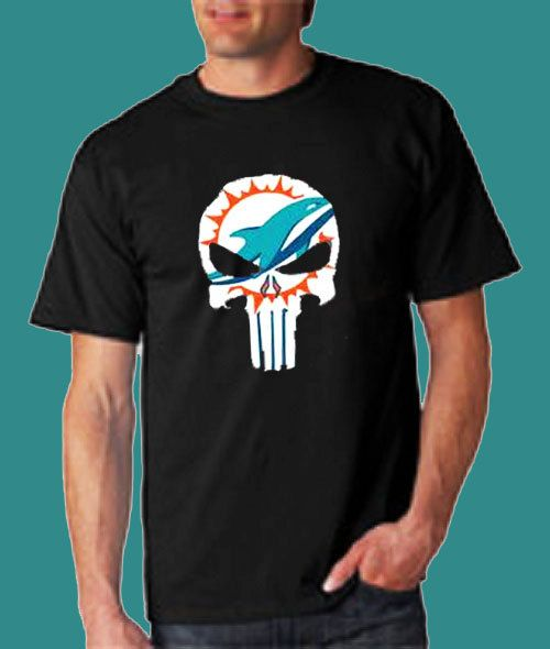 d2ac7cbe9 Miami Dolphins Punisher Skull T Shirt Add Personalized Text On Back Shirts  Clothing Sweats Mens Womens by dreamshoptime on Etsy