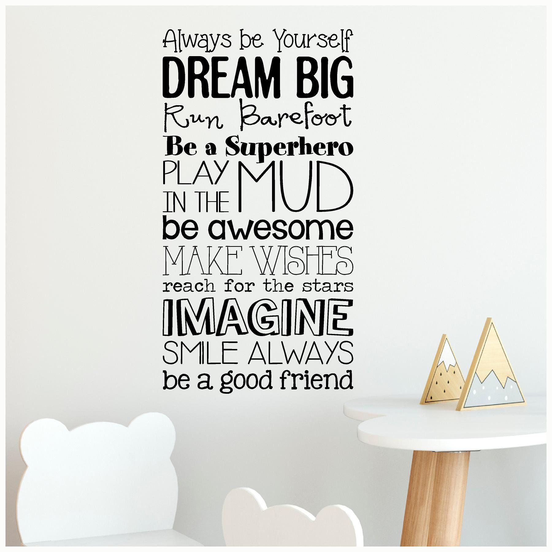 Vinyl Wall Sticker Art Play Create Imagine Wall Decal Quote