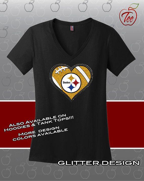 82e603570 Ladies V-Neck Pittsburgh Steelers T-shirt. Rhinestone  amp  Glitter Design!