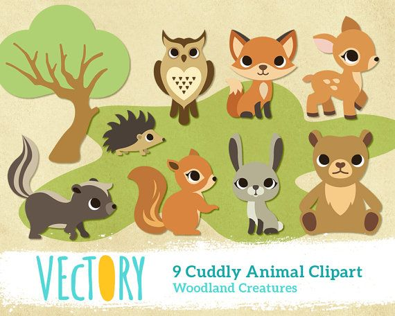 Cute Forest Wild Animal Woodland Creature Clipart Clip By Vectory 3 50 Animals Wild Cute Doodles Drawings Woodland Animals