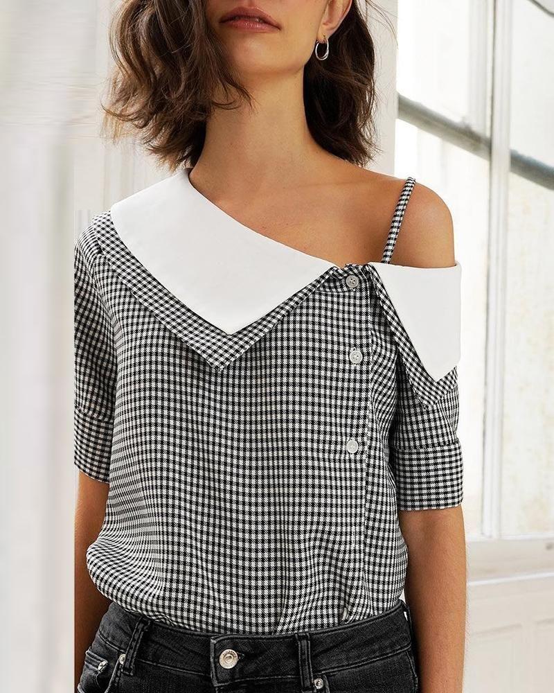 chicme / Blusa casual con estampado de cuadrícula oblicua #blusas