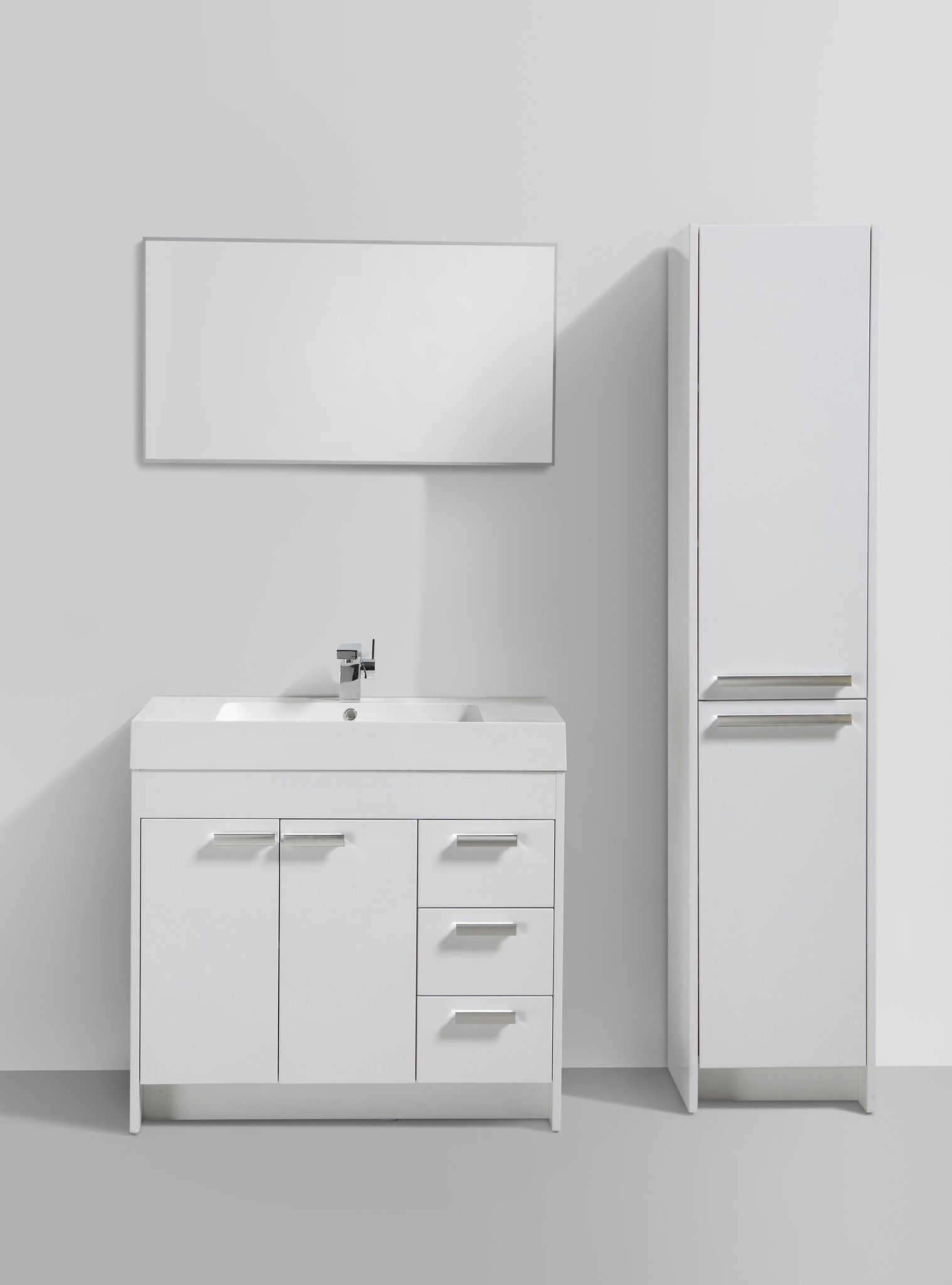 "Eviva Lugano 36"" White Modern Bathroom Vanity With White Endearing Modern Bathroom Vanity Decorating Inspiration"