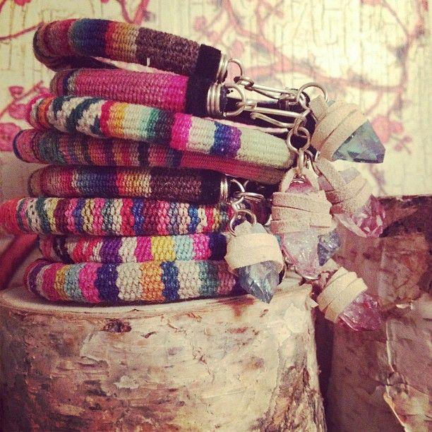peruvian bangles with aura quartz charm