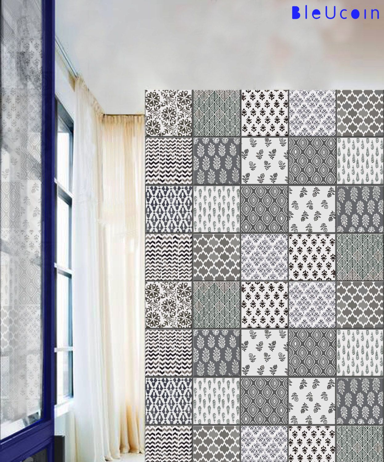 Tile Decal India Block Printing By Bleucoin On Etsy Style Tile Stairs Vinyl Tile Decals