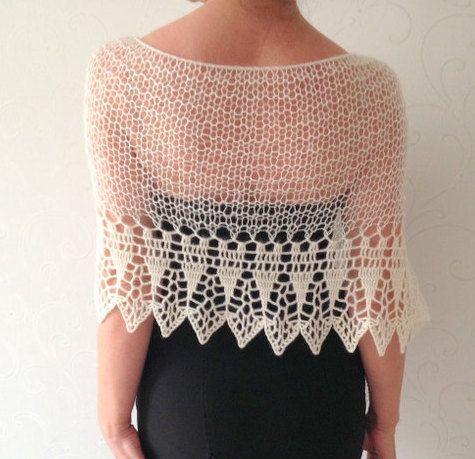 Wedding shawl, ivory poncho, knit poncho, merino poncho, knit and ...