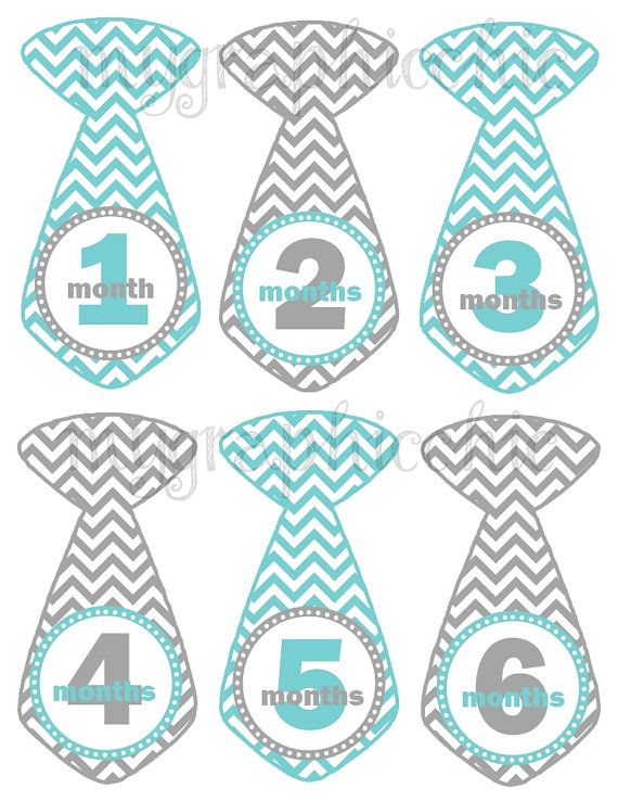photo regarding Printable Baby Month Signs called Child Boy Month to month Bodysuit Progress Picture Tie Stickers Blue
