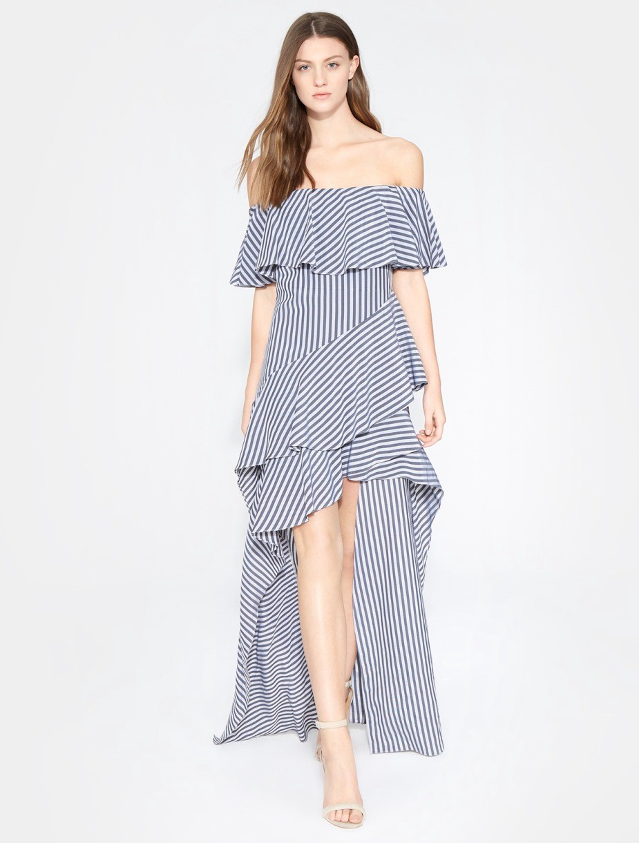 313ffd0c0dca Halston Heritage Striped Off Shoulder Gown - Charcoal/French Grey Stripe 12