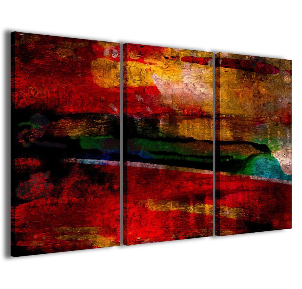 Stampe su tela 3pz.120x90cm Abstract Painting 013 Quadri Moderni Astratti Quadro