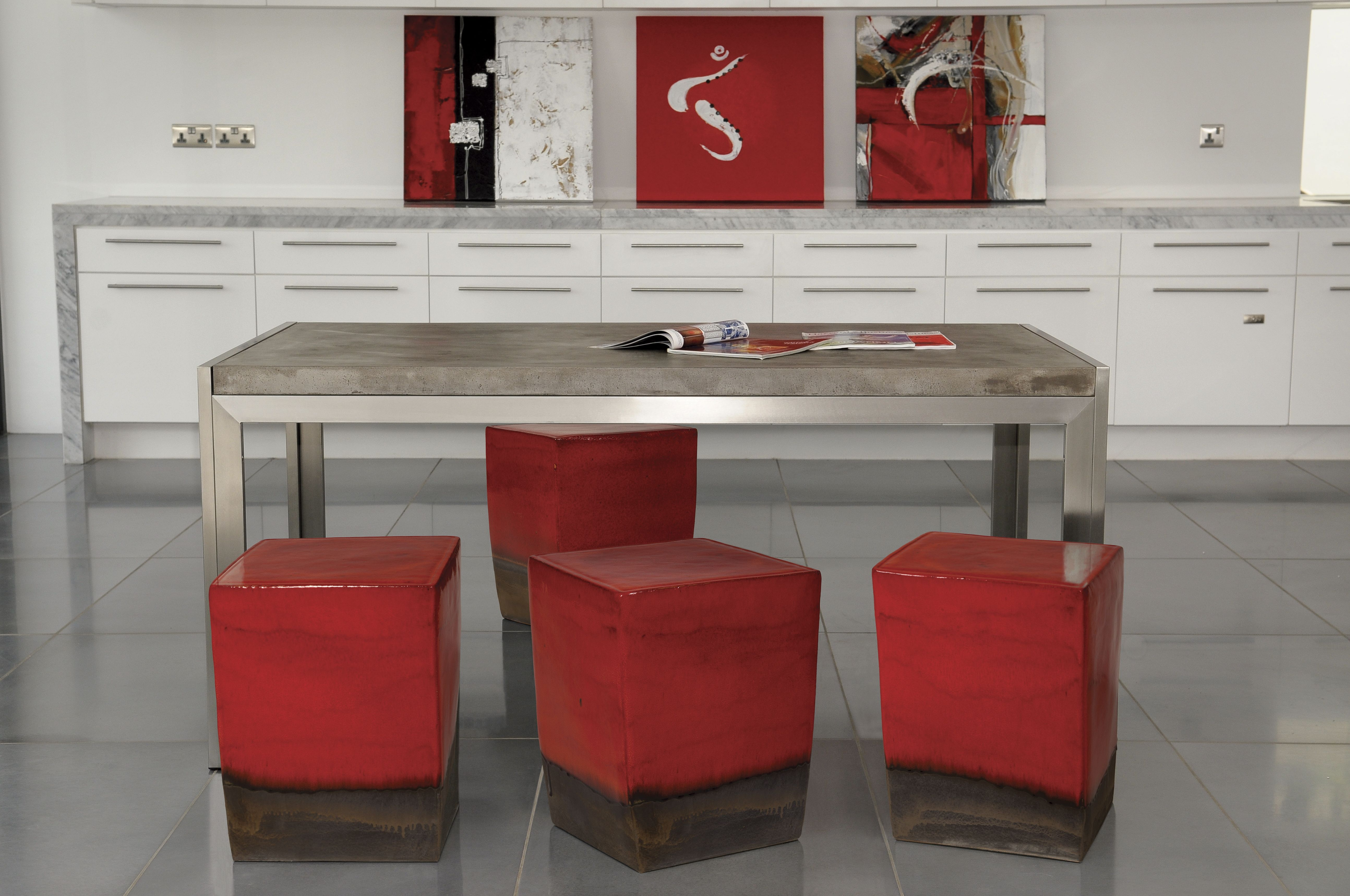 Perpetual Lightweight Concrete Collection   Manhattan Table With Brushed  Stainless Steel Frame