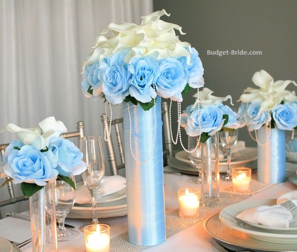 capri aqua blue roses surrounding white calla lilies in tall wedding rh pinterest com Fresh White Wedding Flower Centerpieces Fresh White Wedding Flower Centerpieces