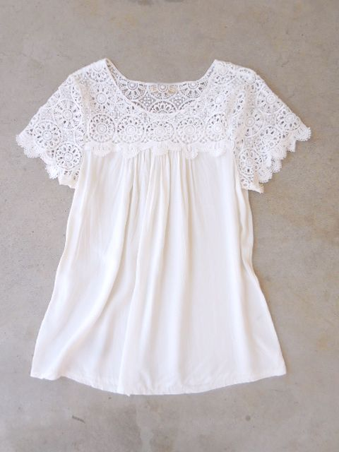 55bc18910dfe66 White Crochet Cotton Blouse … | bluze | Blusa…