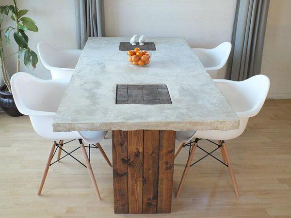 Rustic Modern Dining Room Tables diy concrete dining table - decoist | tavoli, tavolini e sedie