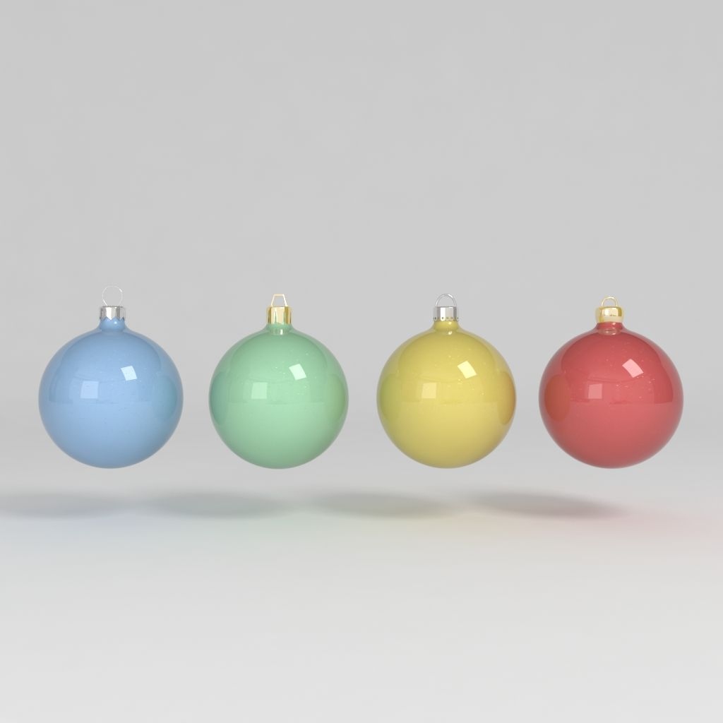3d Model Christmas Ball Decoration Colored Tree Decoration Noel Celebration Blue Green Yellow Red Reflect Bright Christmas Balls 3d Model Model