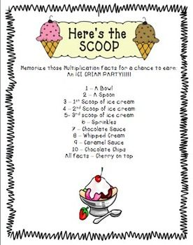 Multiplication tests  ice cream incentive also best math incentives images classroom ideas setup rh pinterest