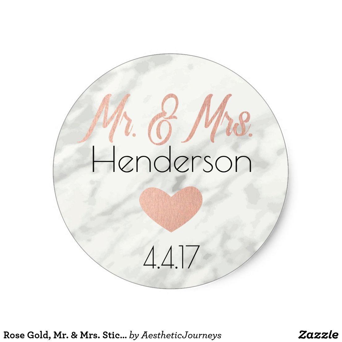 Rose Gold, Mr. & Mrs. Stickers- Wedding Favors Classic Round Sticker ...