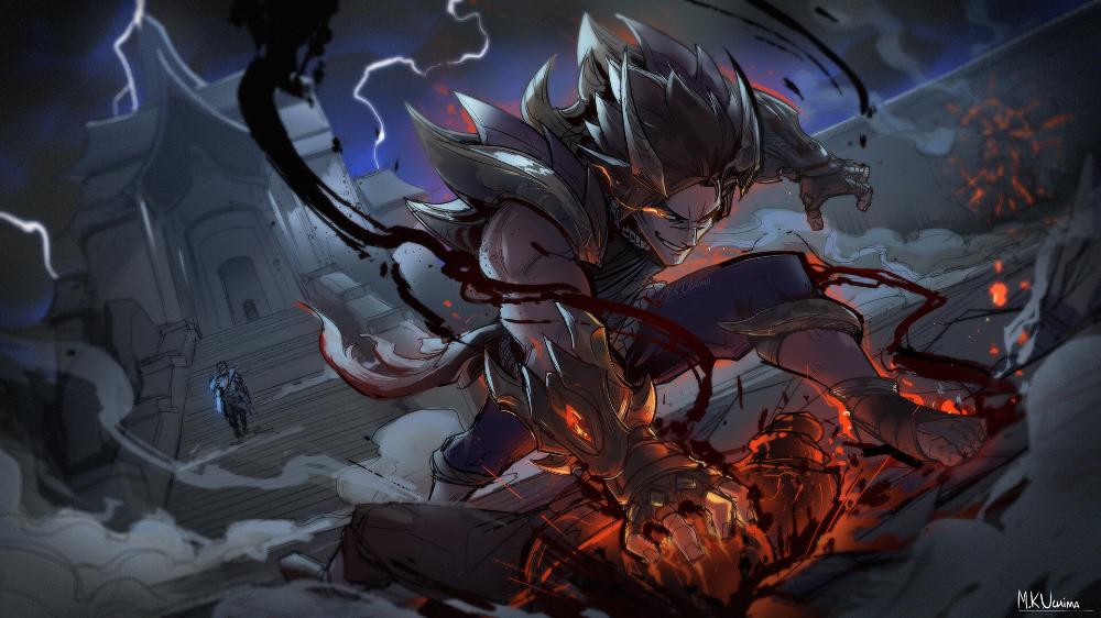 Artstation Obsidian Dragon Sett Fan Art Marcos Kenji Uchima Lol League Of Legends League Of Legends Fan Art