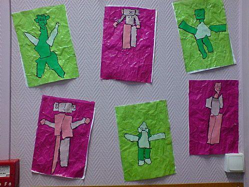 Graphic arts : fond : collage de papier vitrail froissé.  Papier vitrail même coloris que fond déchiré / assemblé pour faire un bonhomme.
