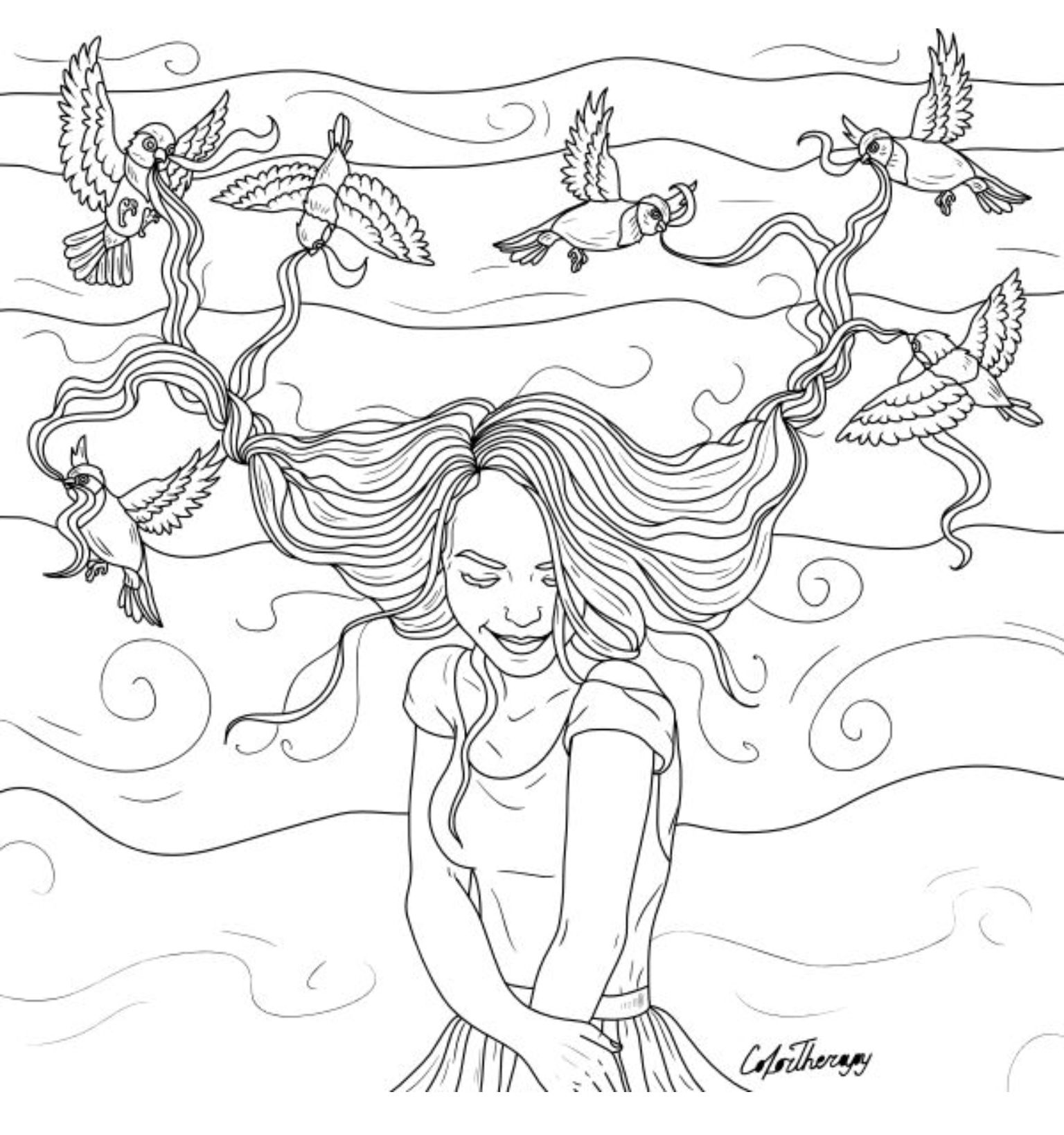 How Cute Is This Birds Braids Girl Hair To Color With Color Therapy Http Www Apple Co Colortherapyapp Coloring Book Art Free Coloring Pages Coloring Books