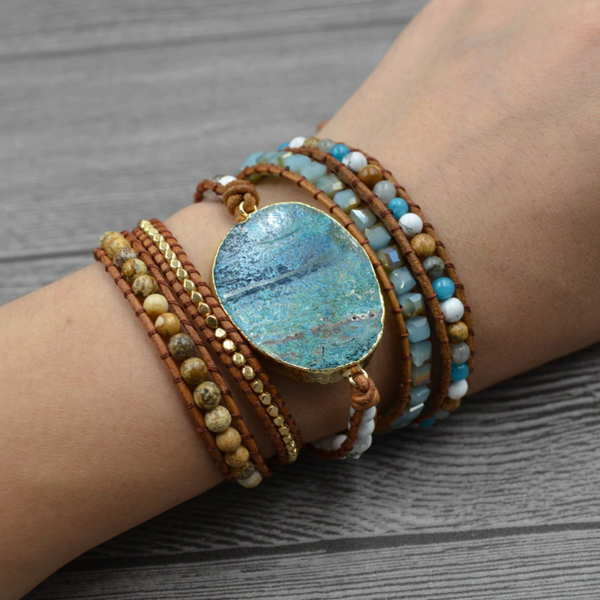 Bangle Gemstone Bracelet,Earth Tone Bracelet,Ocean Jasper Gemstones,Bead Woven Bangle Bracelet