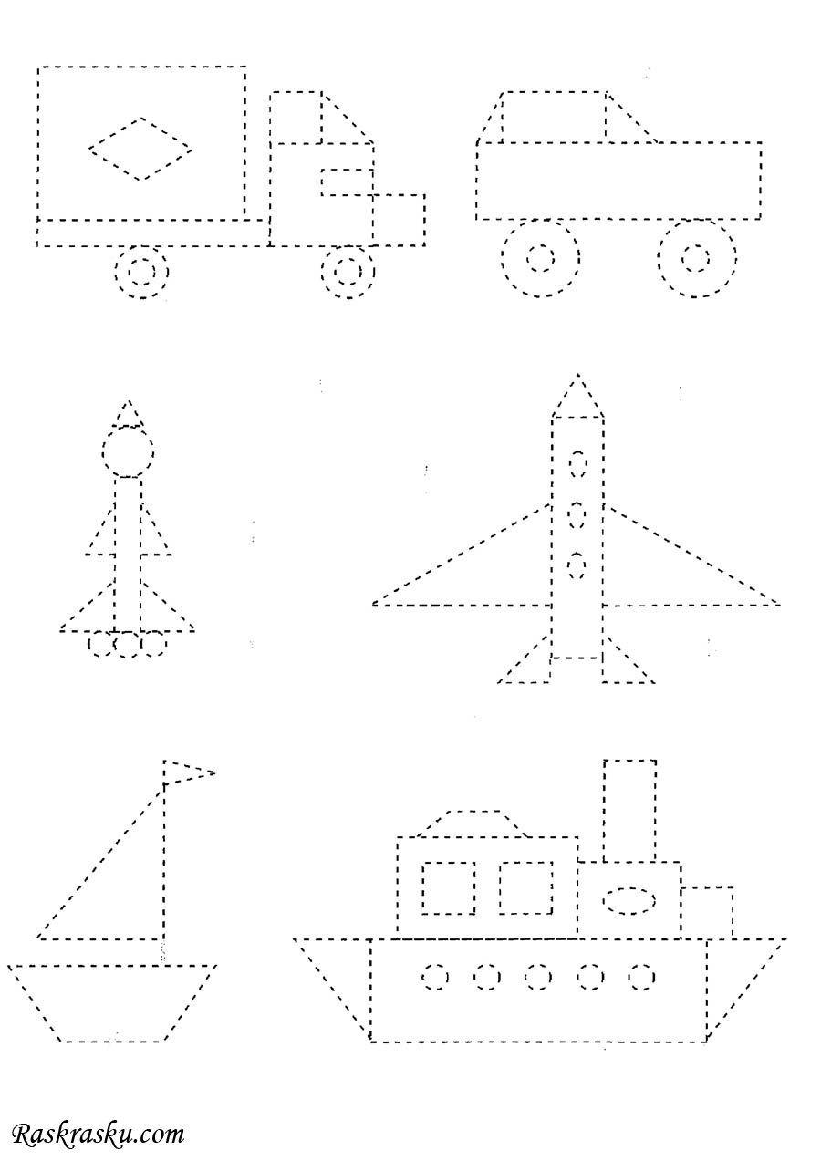 Раскраска Корабль, самолет, ракета по точкам скачать и ...