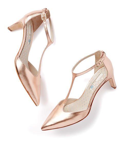 Beatrice Mid Heel Rose Gold Metallic Heels Shoe Boots Boot Shoes Women