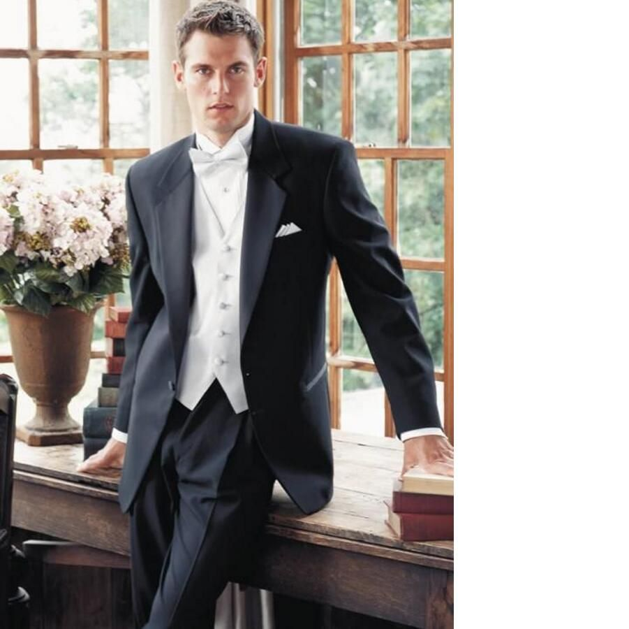 Click to buy ucuc new arrival men suit black men tuxedos with white