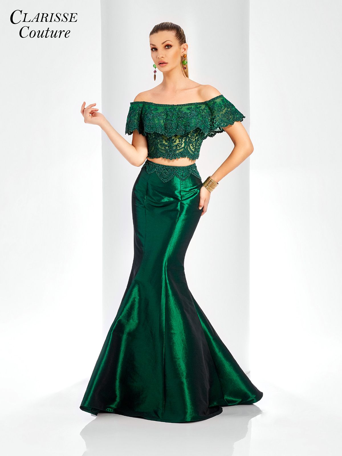 Off the shoulder two piece mermaid dress in evening