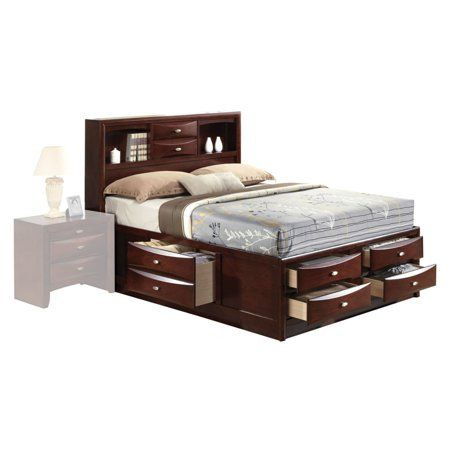 Acme Ireland Full Bed With Storage In Espresso Rubberwood