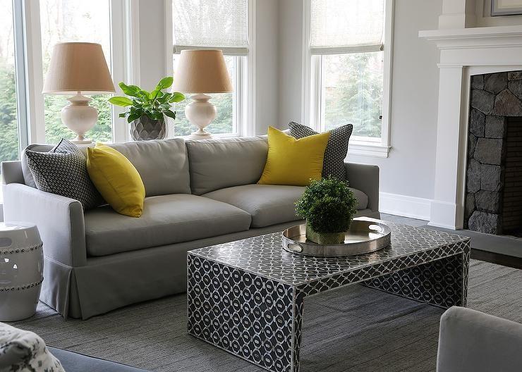 Dove Gray Sofa With Canary Yellow Pillows Transitional Living Room Living Room Pillows Yellow Pillows Gray Sofa