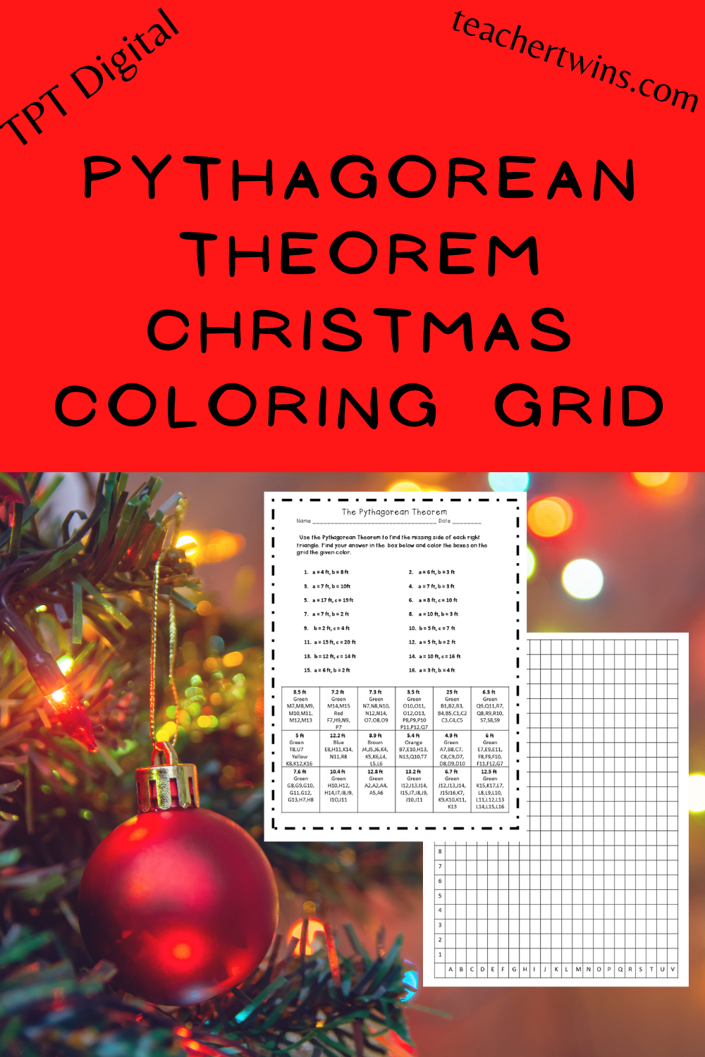 The Pythagorean Theorem Coloring Grid Sheet In 2020 Pre Algebra Activities Christmas Math Middle School Middle School Geometry Activities