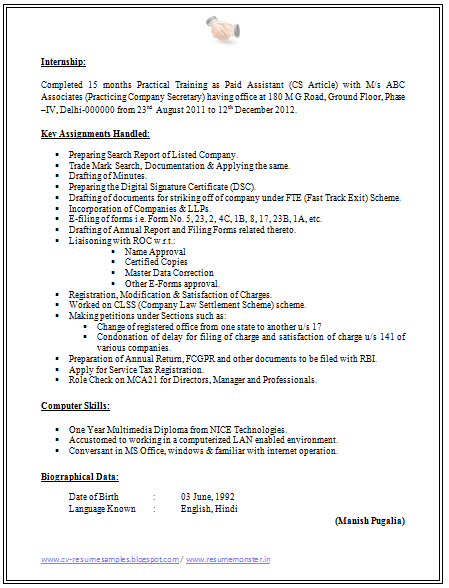 Cv Format For Company Secretary 2 Sample Resume Templates Resume Template Word Sample Resume