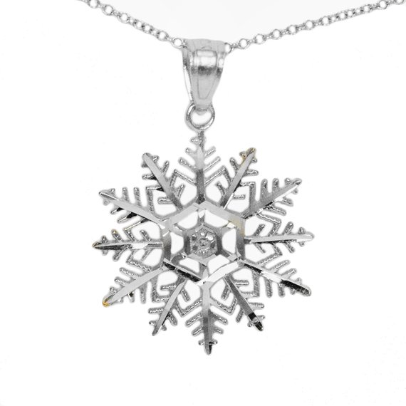 10k White Gold Snowflake Necklace Gold Snowflake Necklace White Gold Pendants Snowflake Necklace