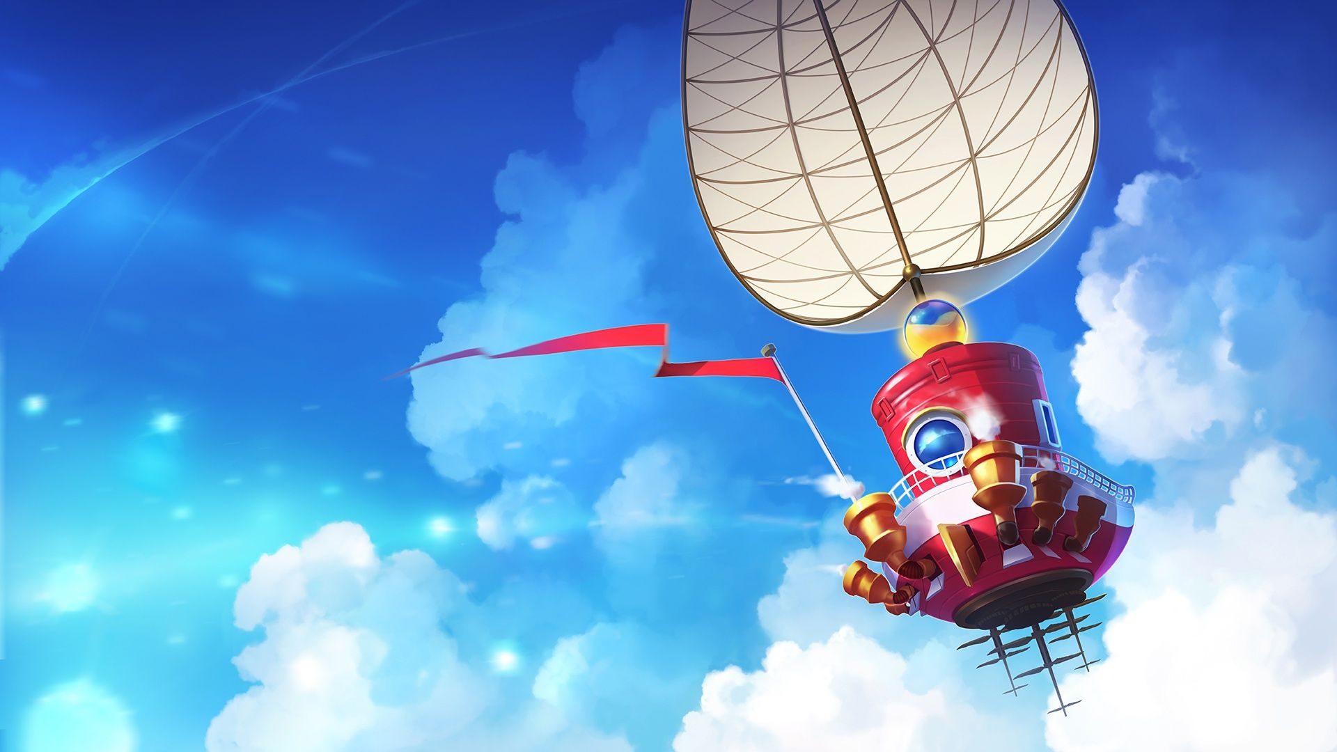 Download Wallpaper The Sky Clouds Ship Art Sail Nintendo
