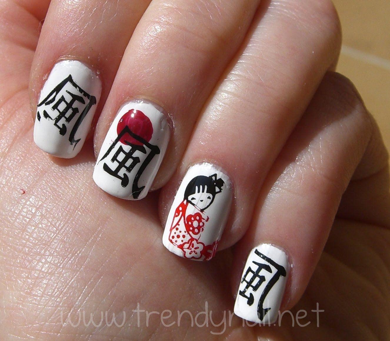 geisha Nail Art Tutorial | Nail Stamping tutorial: Japanese style ...