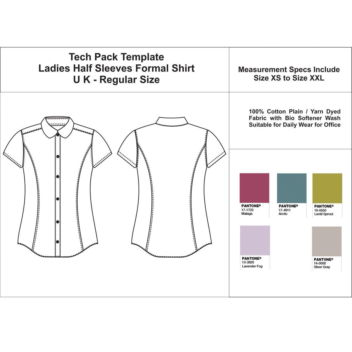Shirt design template size - Ladies Half Sleeves Formal Shirt Uk Regular Size