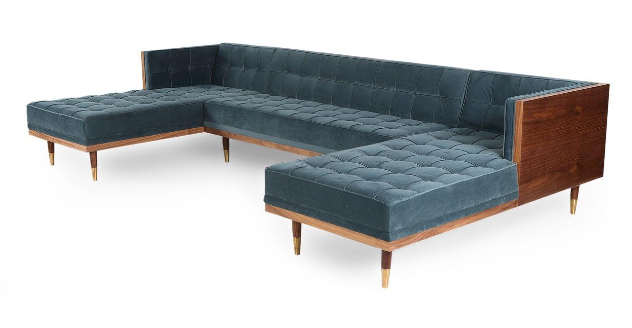 Terrific Woodrow Box Sofa U Sectional Walnut Neptune Apt In 2019 Ibusinesslaw Wood Chair Design Ideas Ibusinesslaworg