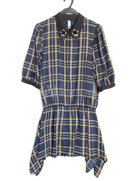 [$69.99] Short Sleeves Plaid Layered Elastic Silk Like Satin Casual Womens Short Dress
