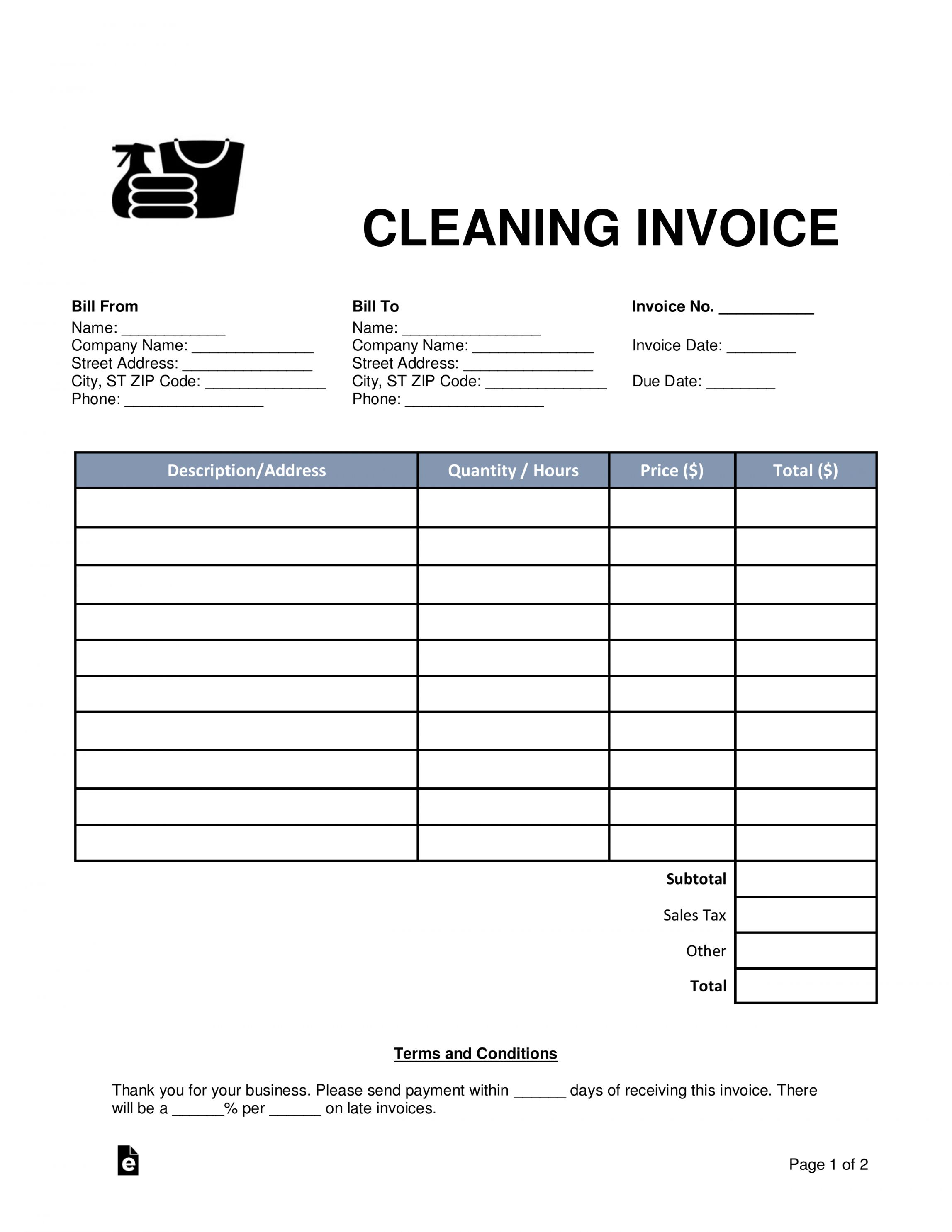 Browse Our Sample Of Cleaning Company Receipt Template Invoice Template Nanny Contract Template Invoice Template Word