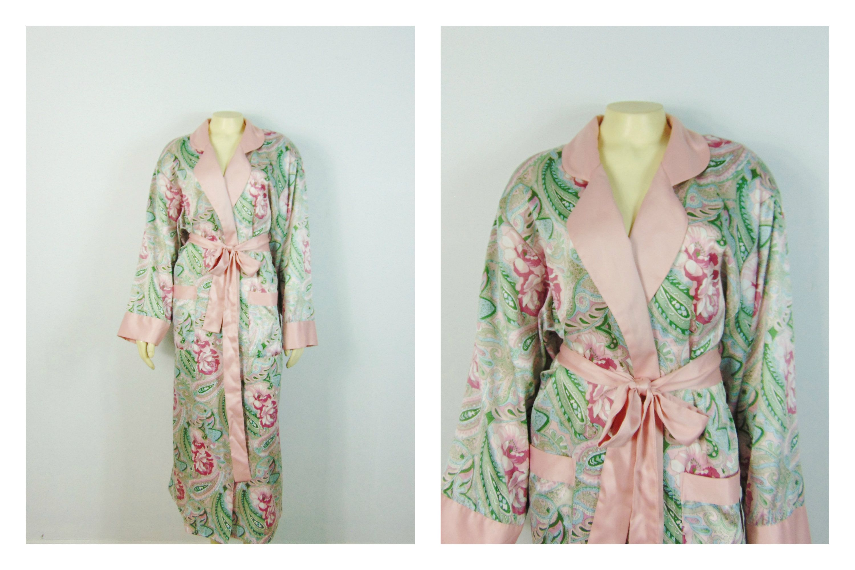 Vintage Dressing Gown Robe 80s Victoria\'s Secret Pink Floral Paisley ...