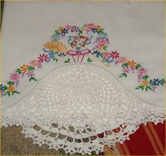 Sale Vintage Southern Belle W Fan Pillowcase Embroidery