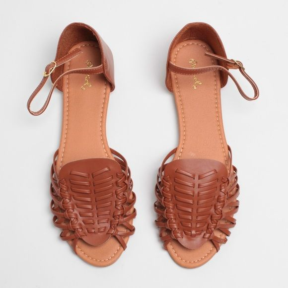 79546fee17ad Cognac Faux Leather Huaraches Inspired Sandals Cognac Faux Leather Open Toe Flat  Sandals