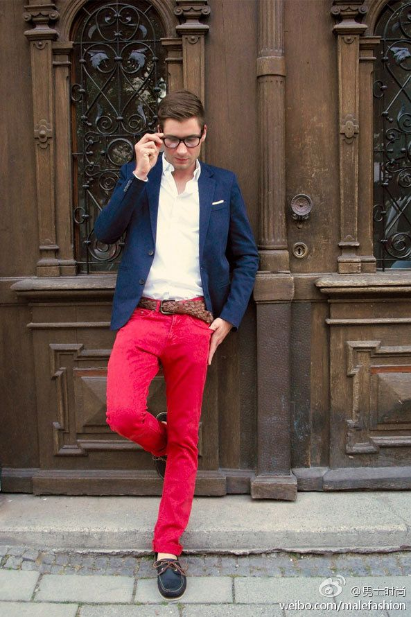 b6c75c42d67 Wearing a  navy blazer and  red pants