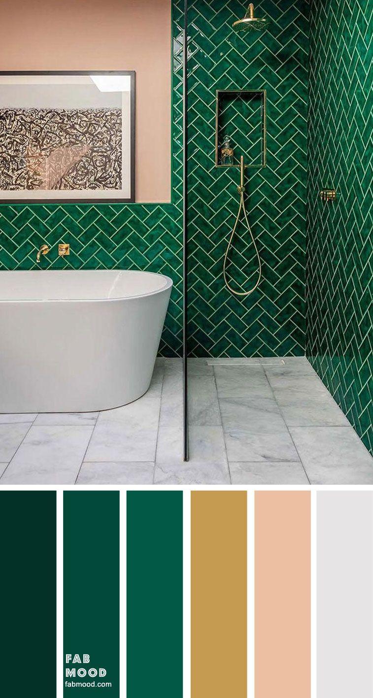 8 Beautiful Color Schemes For Bathroom Color Ideas Green Emerald Gold Grey In 2020 Small Bathroom Colors Bathroom Color Schemes Bathroom Color