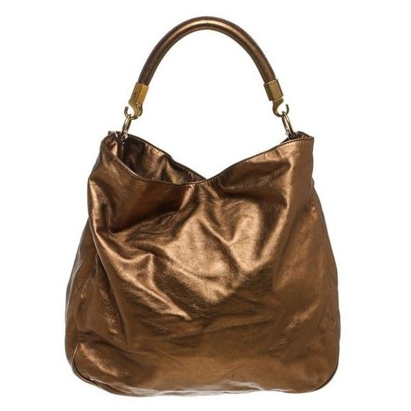 02dfb39079 Pre-Owned Yves Saint Laurent Metallic Bronze Leather Roady Hobo... ( 695