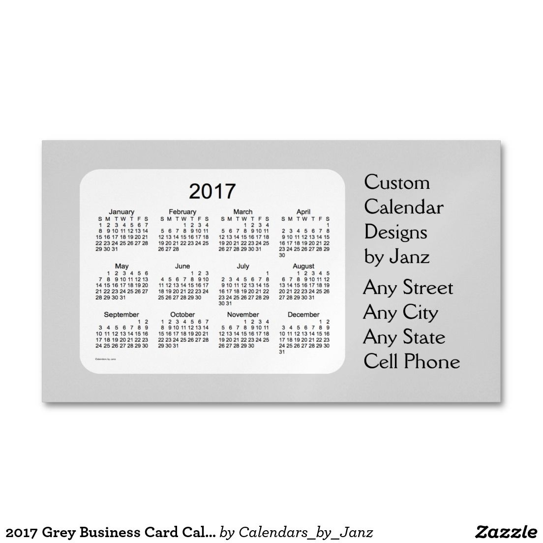 2017 Grey Business Card Calendar by Janz Magnet | All Aboard For ...