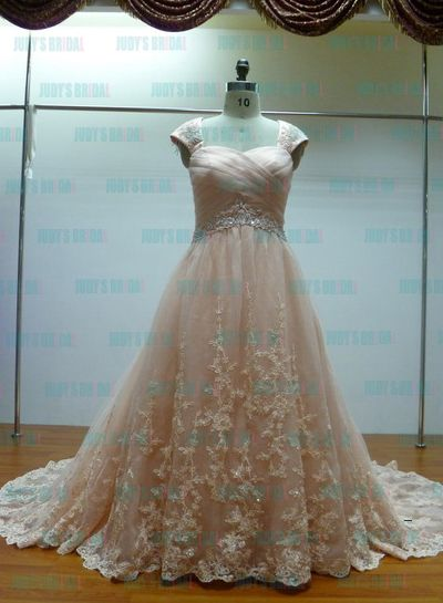 JCD12022 Coral colored plus size lace ballgown wedding dress ...