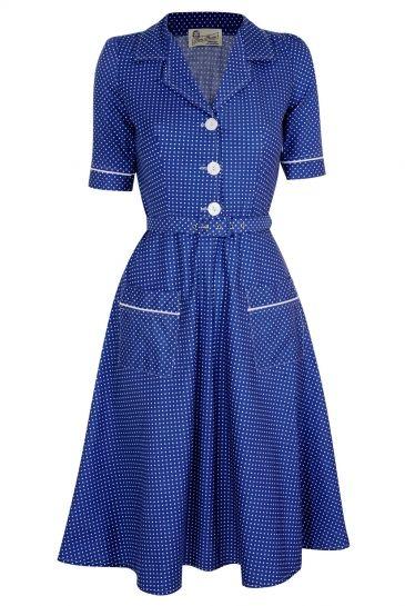 Tara Starlet 1940s 40s Style: Tara Starlet Blue Utility Dress.